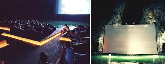 Pantalla de cine en el mar. marketing experiencial