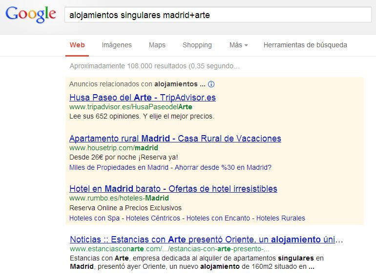Búsqueda en google: Alojamientos singualres en madrid+arte