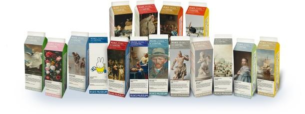 Detalle de la promoción en briks de leche Museo Rijksmuseum de Ámsterdam