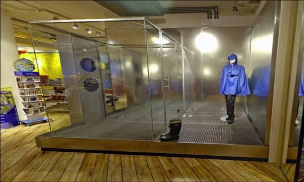 Probador impermeable en una tienda de deportes