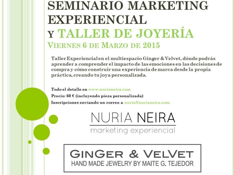 SEMINARIO MARKETING EXPERIENCIAL GINGER&VELVET