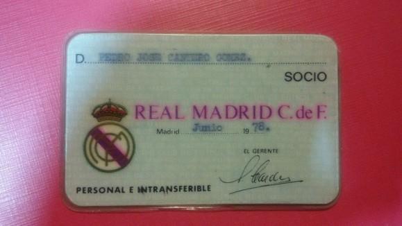 Carnet de socio del Real Madrid 1978